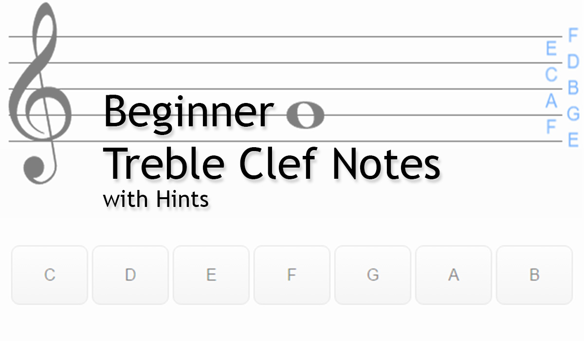 Note Names Beginner Treble Clef With Hints